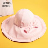 2019 Large Brim Hat Summer Women Bowknot Beach Visor Cap Girls Red Purple Black Pink Lvory White Solid Sun Hats Female Chapeau