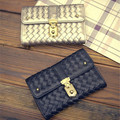 New Arrival PU Women Wallet Woven Pattern Zipper Hasp Long Wallet Fashion Black and Gold Hand bag HBA37