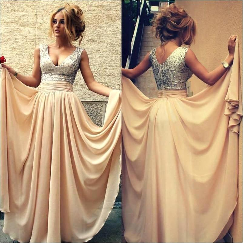 Fast Shipping Long V Neck Champagne Sequin Prom Dresses For Wedding