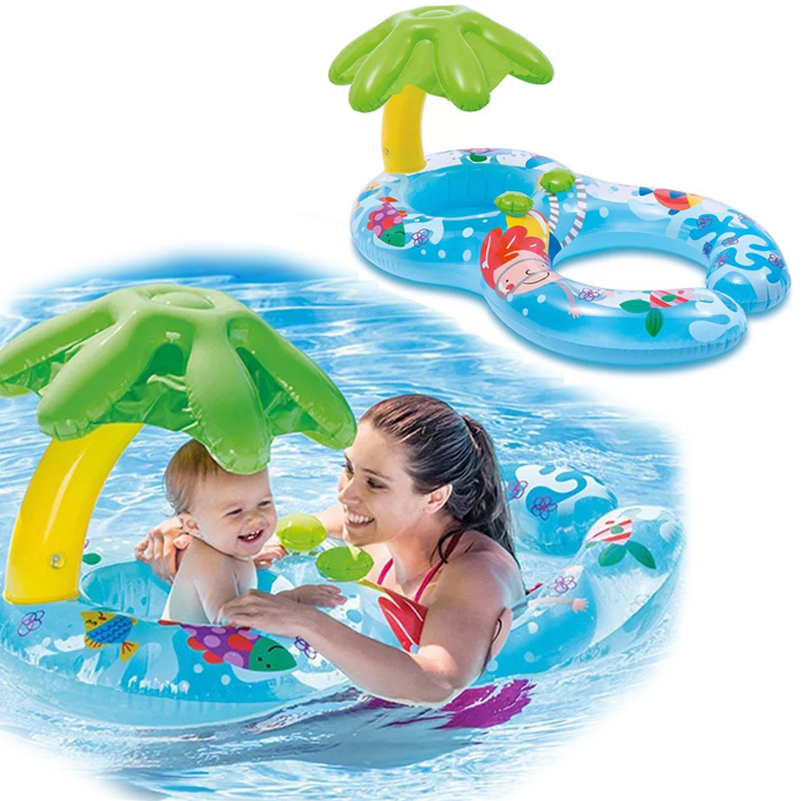 YUYU Inflatable Double Swimming Ring Baby Pool Float Pool Tube Toys With Canopy Party Parent-baby Swim Ring With Awning