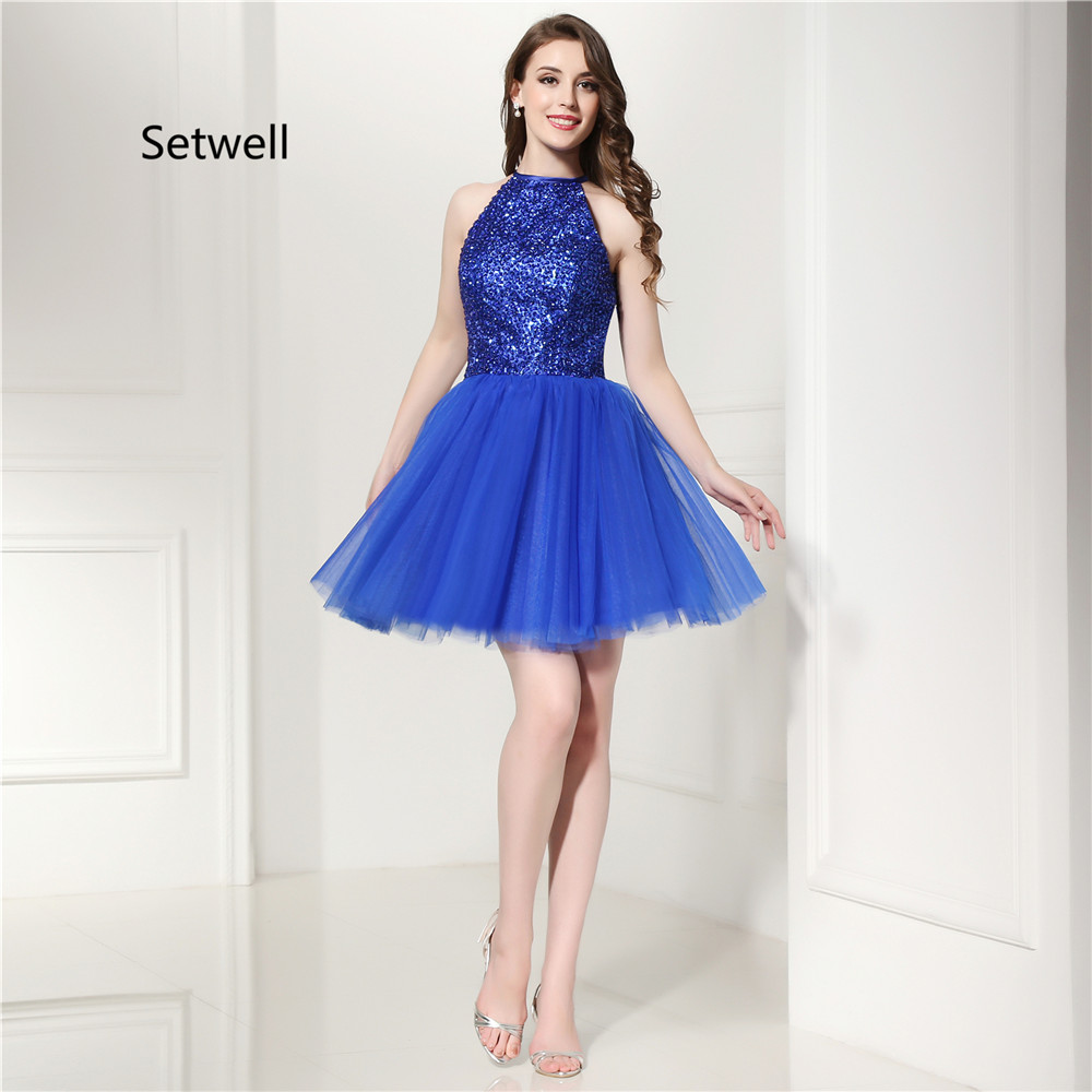 Setwell Royal Blue   Prom     Dress   2017 Sexy Mini Short   Prom     Dresses   Halter Backless Crystal Beading Homecoming Gowns