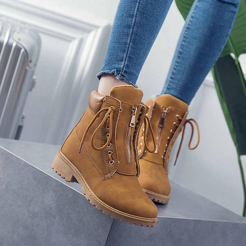 2020 ฤดูใบไม้ร่วงและฤดูหนาว Martin BOOTS หญิง Multi-functional LACE-up รองเท้าผู้หญิงแบนรองเท้าผู้หญิง
