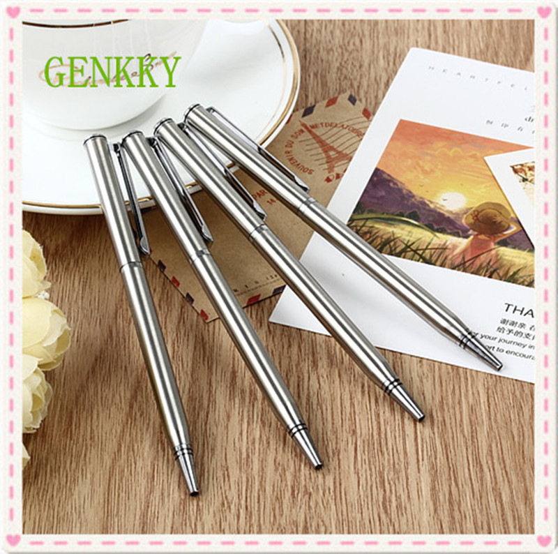 1pcs/lot Rotating metal ballpoint pen stainless steel ball pen steel bar oil pen commercial stationery pen free shipping