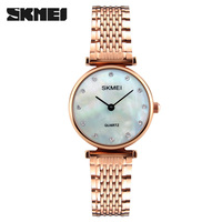 SKMEI New Brand Fashion Women Quartz Watches Round Dial Casual Dress Girls Wristwatches Rhinestones Waterproof Ladies