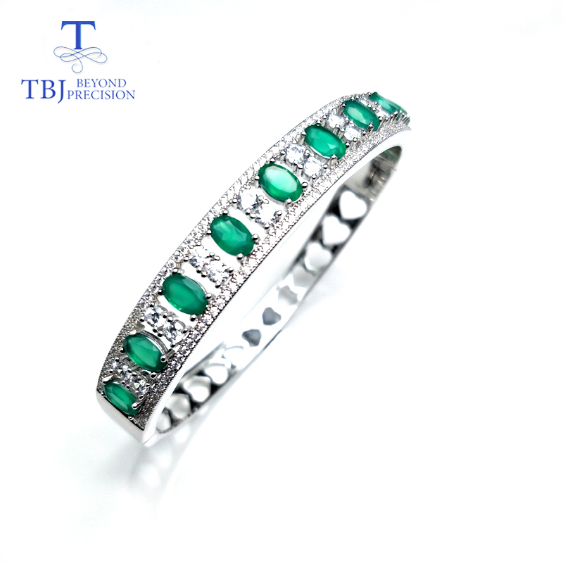 TBJ,New bangle 4.5ct natural green agate gemstone bangle in 925 sterling silver fine jewelry for women with Valentine gift box