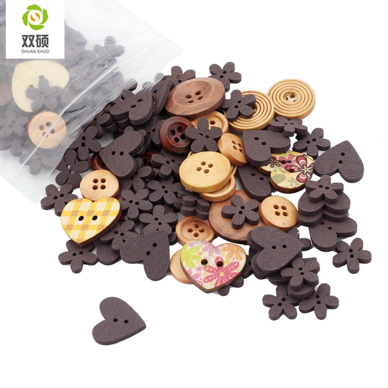 ShuanShuo Colorful Mixed Brown Series Wooden Buttons For Hat, Shoes, Clothes Diy Accessories Mixed Color 50PCS/Bag