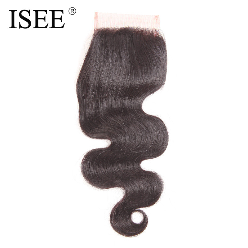ISEE font b HAIR b font Body Wave Closure 4 x 4 Free Part Swiss Lace