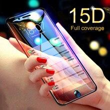 15D Protector de pantalla con borde curvo para iPhone, Protector de vidrio templado para iPhone 7, 6, 6S, 8 Plus, X, XR, XS, Max, 7, 6