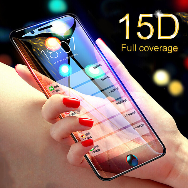 15D מעוקל קצה מגן זכוכית על עבור iPhone 7 6 6S 8 בתוספת מזג מסך מגן עבור iPhone X XR XS מקסימום 7 6 זכוכית סרט