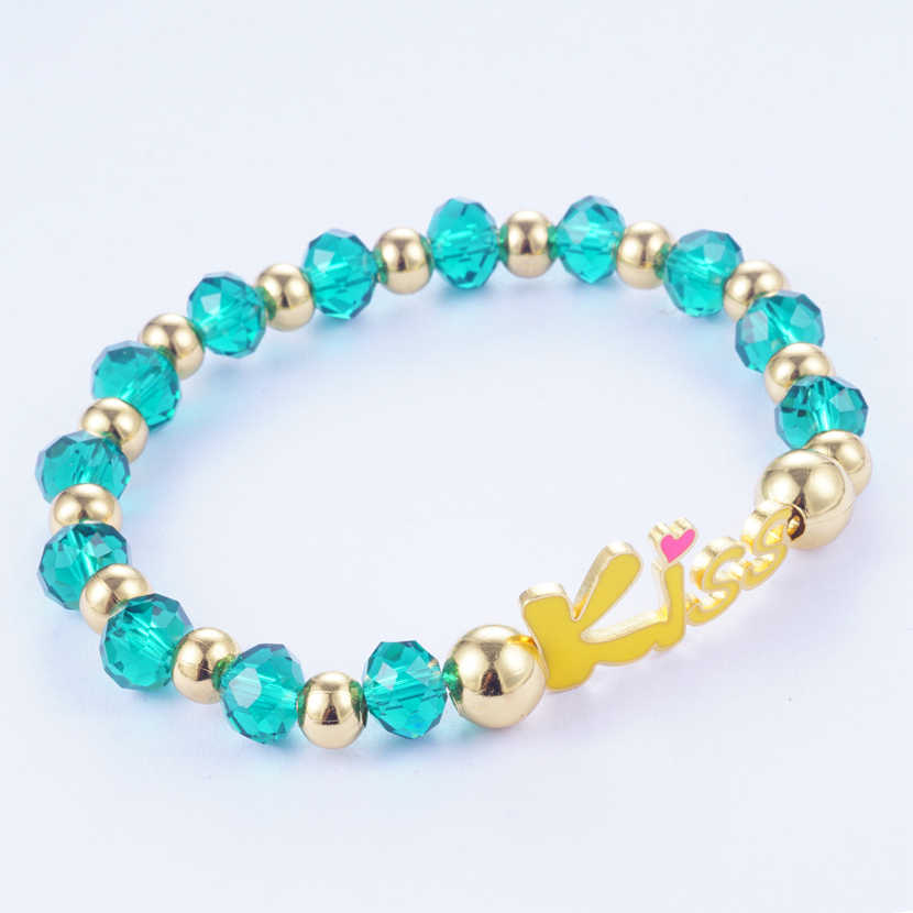 Yunkingdom 2 Colors Shiny Beads Crystal Metal Charm Bracelet & Bangles Stainless Steel Bracelets for Women Love Jewelry