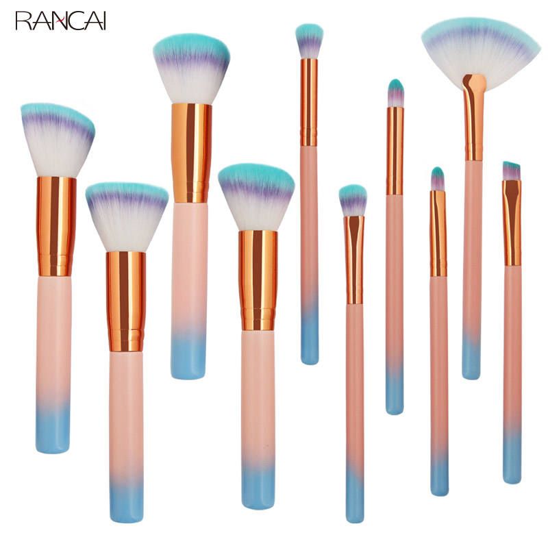 10pcs Makeup Brushes Set Foundation Powder Eye Shadow Blush Blending Contour Lip Fan Make Up Brush Kit Cosmetic Beauty Tool Kit professional 10pcs set orange color makeup stick makeup brush set foundation fan brush eye shadow brush beauty tools