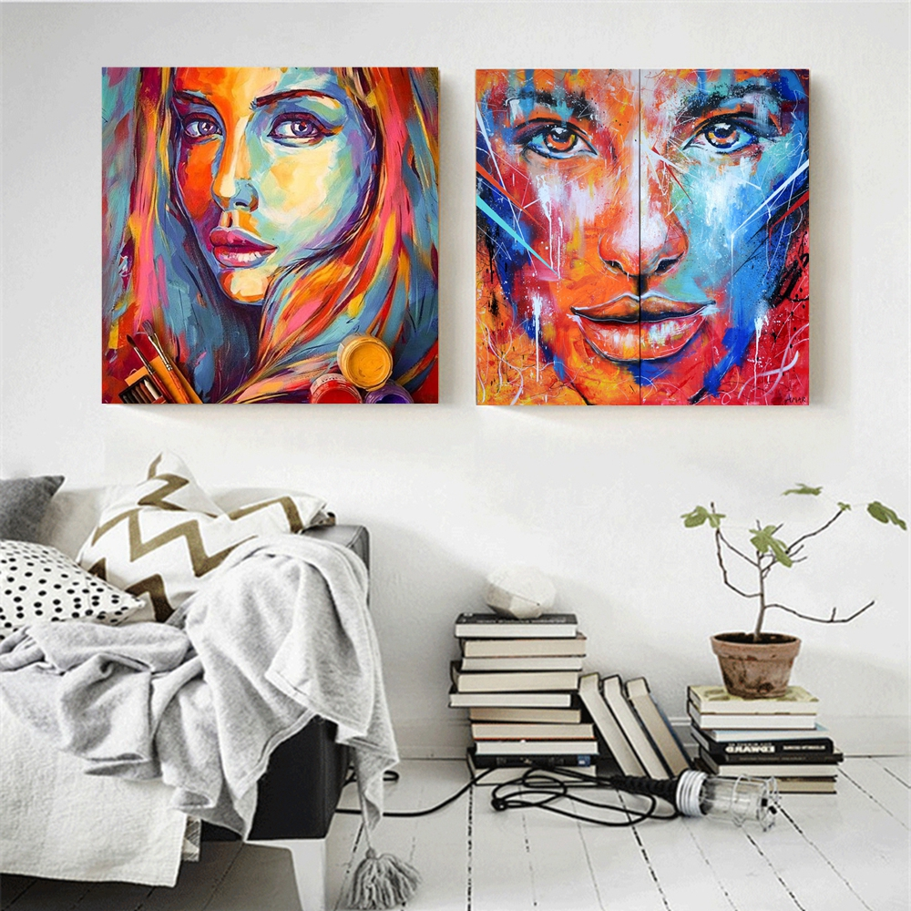 Various sizes ABSTRACT WALL ART CANVAS PRINT FRAMED FEMALE FACE