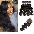 Grade 8A Peruvian Bodywave With Closure Ali Grace Hair With Closure Mink Peruvian Virgin Hair Body Wave With Closure