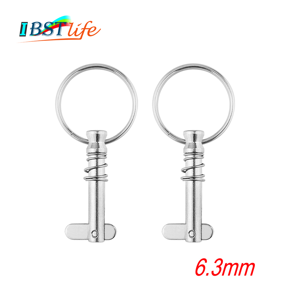 2 Pcs 6.3mm Stainless Steel 316 Quick Release Pin With Ring For Boat Bimini Top Deck Hinge Marine Hardware