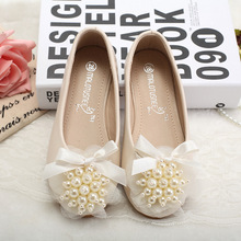 Korean Style Flower Girl Fashion PU Leather Ivory Beads Cute Pearl Little  Princess Shoes Guangzhou Non e9d2cb5f0834