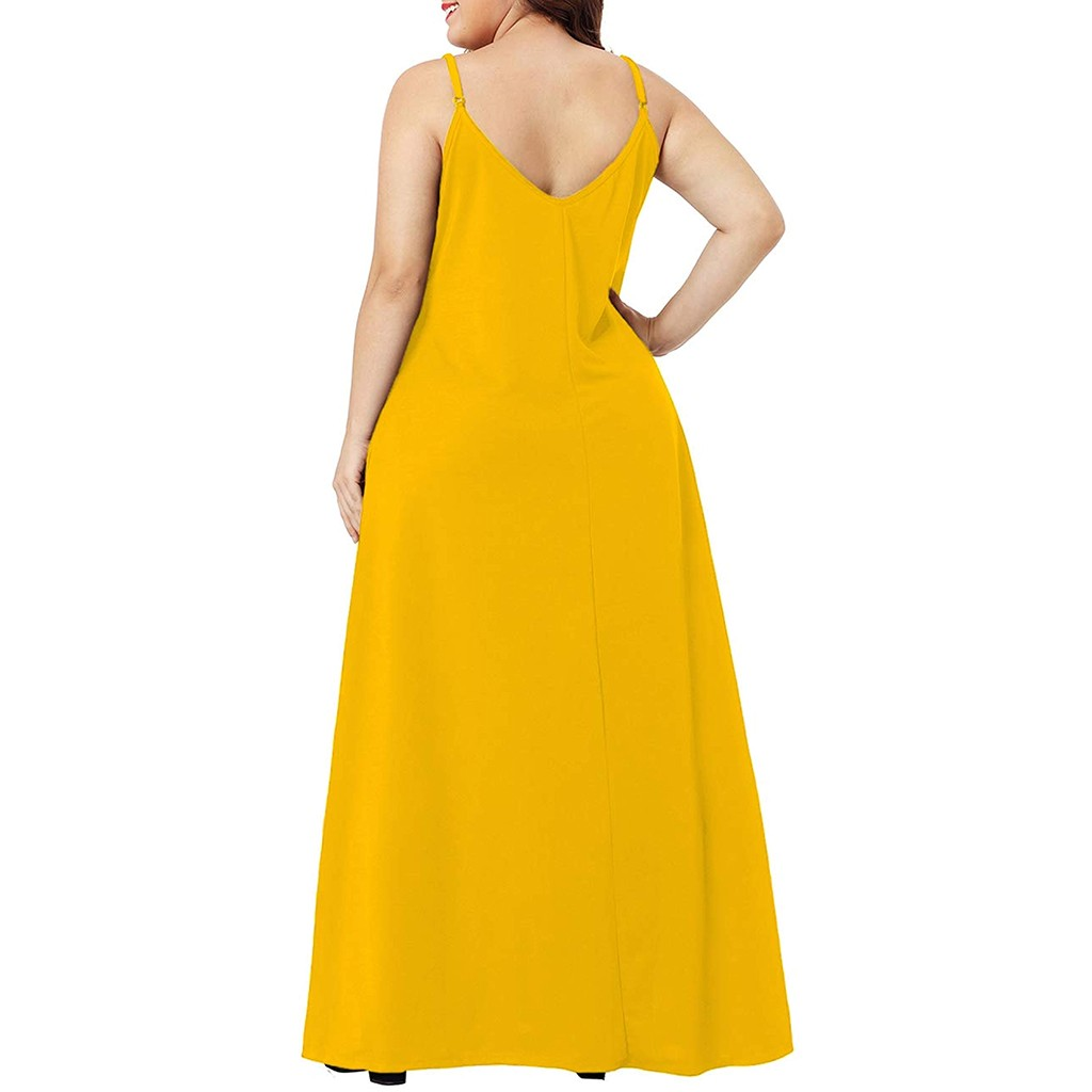 Plus Size Dress Women Summer Solid Maxi Dresses Sexy Spaghetti Straps Sleeveless Loose Long Dress With Pockets Casual Vestidos
