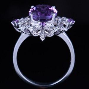 Image 5 - HELON anillo de compromiso de Plata de Ley 925 con amatista Natural, anillo ovalado con diamantes de 100% de 4,54 quilates, joyería fina con flores especiales para mujeres