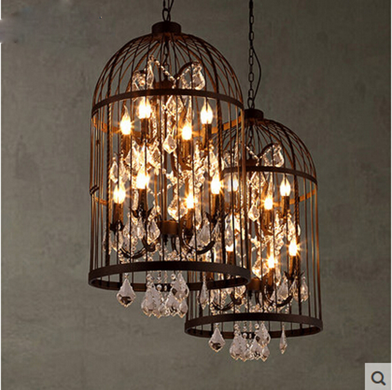 Z Loft Retro Iron Crystal Cage Hanging Lamp American Industrial Bar Chinese Restaurant Clothing Store Cafe Chandelier Lighting