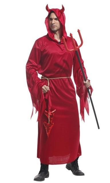 Бесплатная доставка взрослых Для мужчин  костюм на Хэллоуин костюмы демон  дьявол зло костюм Косплэй игры dfd3f6fd099