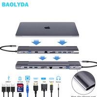 Baolyda USB HUB 10 in 1 Thunderbolt 3 Type C Adapter Dock 3 USB 3.0 Port HDMI 1080P VGA RJ45 Gigabit Ethernet For Macbook Pro