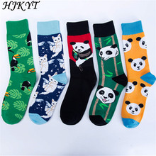 HJKYT happy funny socks men Panda Painting Of Flowers And Birds art colorful long 100 Cotton street style hipster hip hop