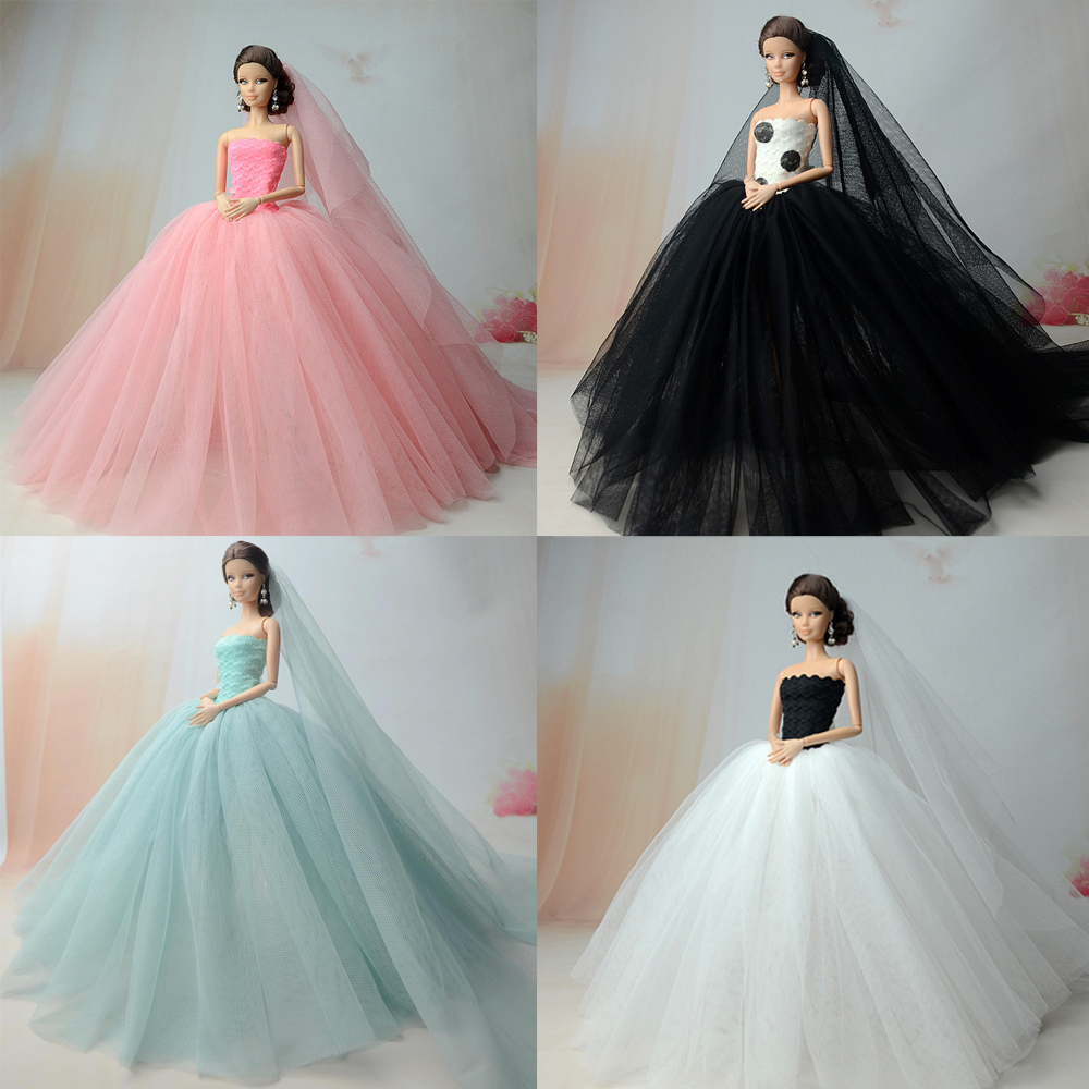 NK Doll Dress High quality Handmade Long Tail Evening Gown Clothes Lace Wedding Dress +Veil For Barbie 1:6 Doll Best Gift nk 5 pcs lot new doll accessories lifestyle suit slim evening dress clothes for barbie doll festival gift for girl