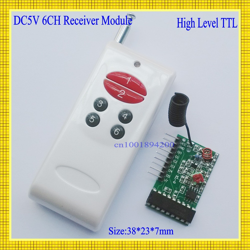 Decoding RF Transmitter Receiver Module 1000M 6CH Wireless Remote Control System Momentary Latched  TTL 6CH Signal Output dc 5v bluetooth audio receiver module usb tf sd card decoding board preamp output support fat32 system