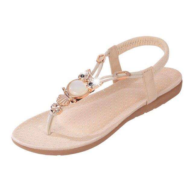 5e33ebd79 Back Strap Flat Shoes Women Elastic Aminal Sequined Sandals Summer Ladies  Casual Flip Flops Shiny Stone Thong Sandals