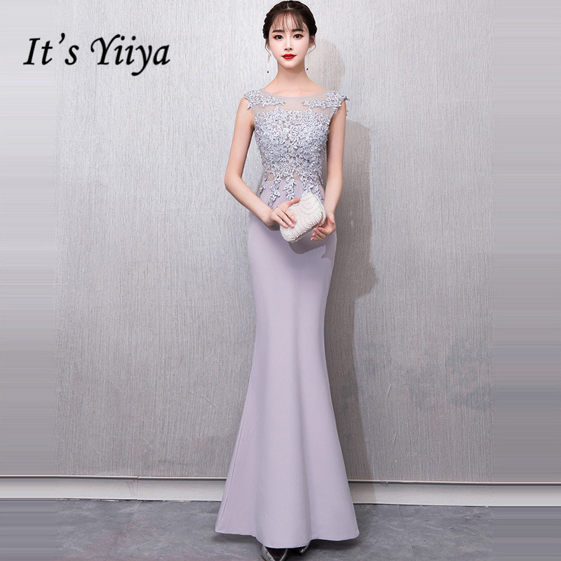 It's YiiYa   Evening     Dress   2019 Appliques Beading O-neck Gray Illusion Floor-length Trumpet   Evening   Gowns TR052 robe de soiree