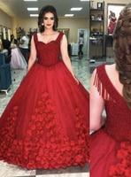 Сверкающие бальное платье красное платье Quinceanera с цветочной аппликацией Кружево Бисер Сладкий 15 Китай обручение невесты