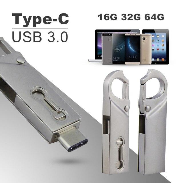 CHYI OTG Type C USB 3.0 Flash Drive 16/32/64GB Pendrive PC Tablet Smartphone USB Memory Stick Mini Pen Drive Gadget Double Plug