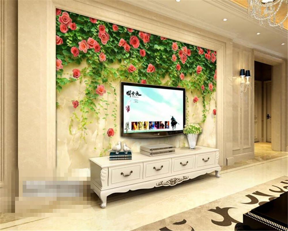 ④Beibehang Marble Rattan 3D Wallpapers Picture Home Decor mural ...