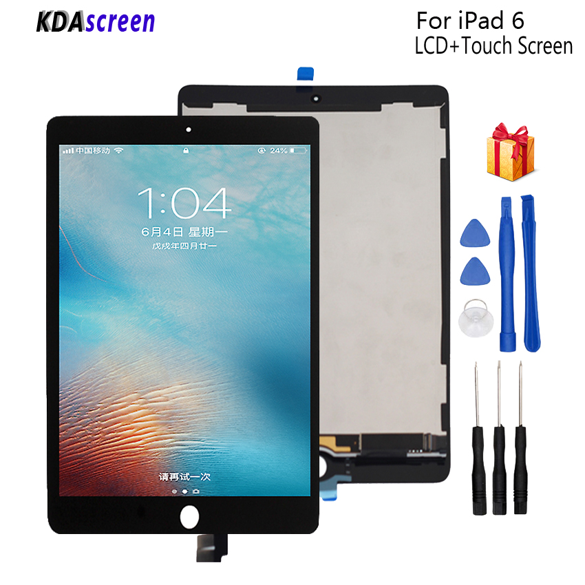 For iPad 6 Lcd Display Touch Screen Panel Digitizer Assembly Replacement For iPad Air2 Display LCD Screen Tablet LCDs Free Tools 100% tested for xiaomi mi max 2 lcd display touch screen replacement parts 6 44 inch with tools as gift free tracking