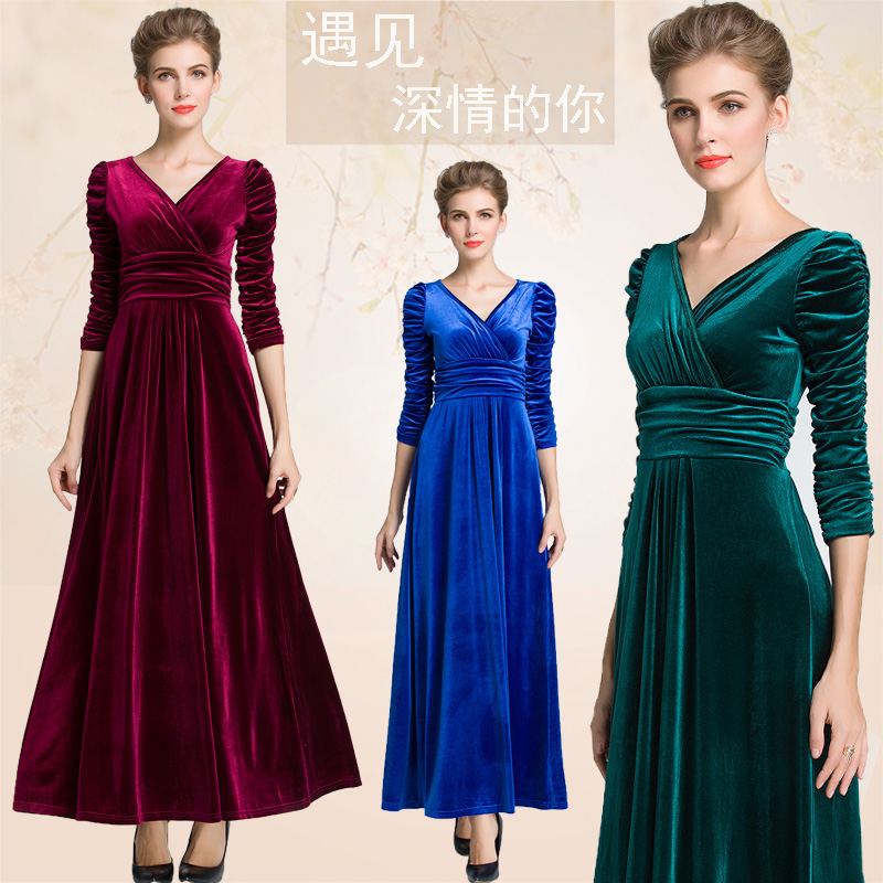 2017 Autumn Winter Women Plus Size Velvet Dress Ruched