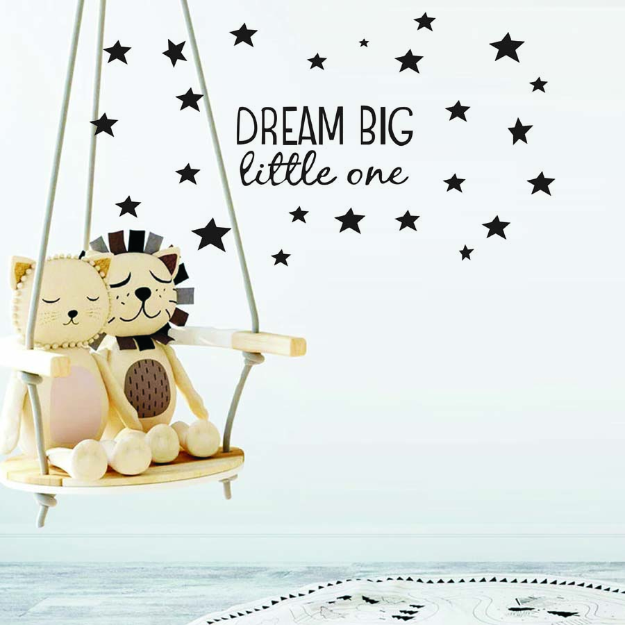 Dream Big Little One Quotes Wall Decal Nursery Wall Sticker Kids Room Baby Bedroom Art Decor Kid Wall Sticker Stars Wall Decals