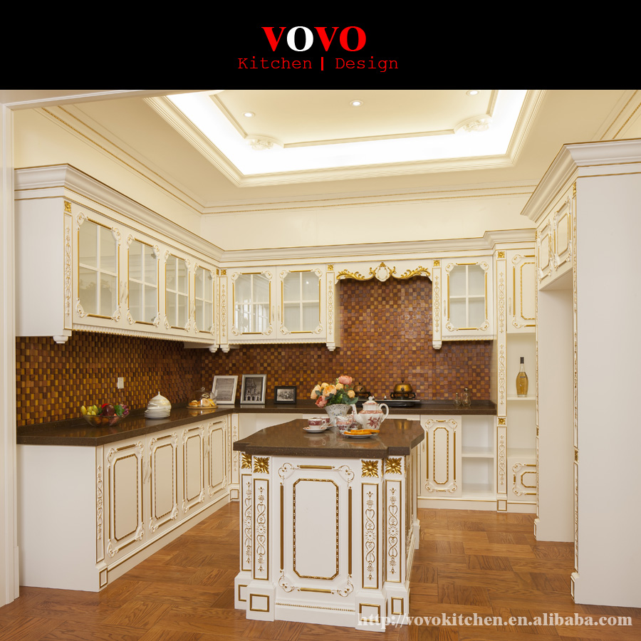 European Style Solid Wood Kitchen Furniture With Gold Foil