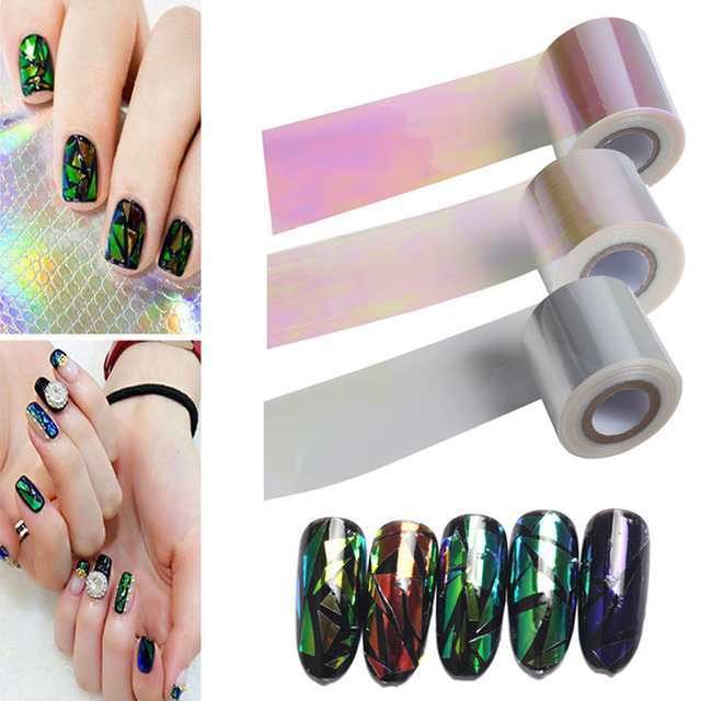 2016 Nueva Llegada 5 cm * 100 m/roll Nail Aurora pegatinas vidrio Roto Sinfonía de Uñas de papel de papel cristal para 3d nail art decoraciones
