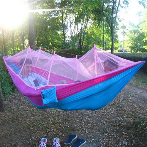Portable Hammock with Mosquito Net Folded Into The Pouch Hammock Hanging Bed For Travel  ...