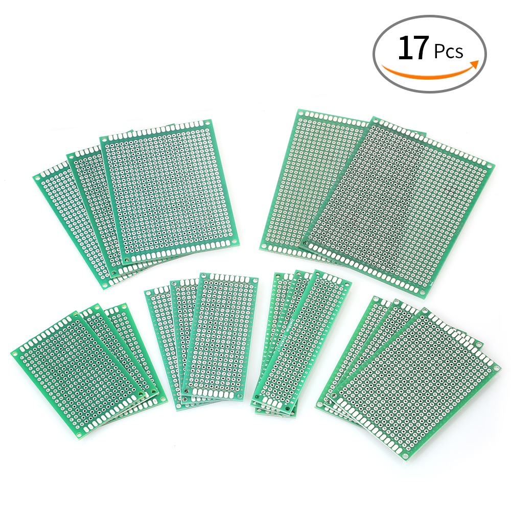 17pcs 6 Sizes Double Sided PCB Board Prototype Kit Universal Printed Circuit Protoboard for DIY Soldering and Electronic Project