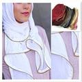 Metal Zipper/ chain bubble chiffon silk muslim Hijab Caps Handkerchief Bandana islamic Shawl Scarf wrap 20pcs/lot 180*70cm