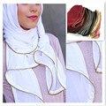 Zíper de Metal/cadeia bolha chiffon de seda Hijab muçulmano Tampas islâmico Lenço Bandana Xaile Do envoltório do Lenço 20 pçs/lote 180*70 cm