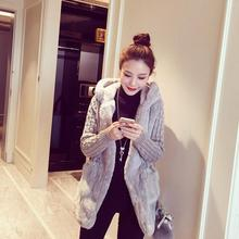 Autumn Winter Hooded Wool Coats Women Knitted Long Sleeve Zipper Thick Warm Womens Hooded Wool Coats and Jackets Big Size