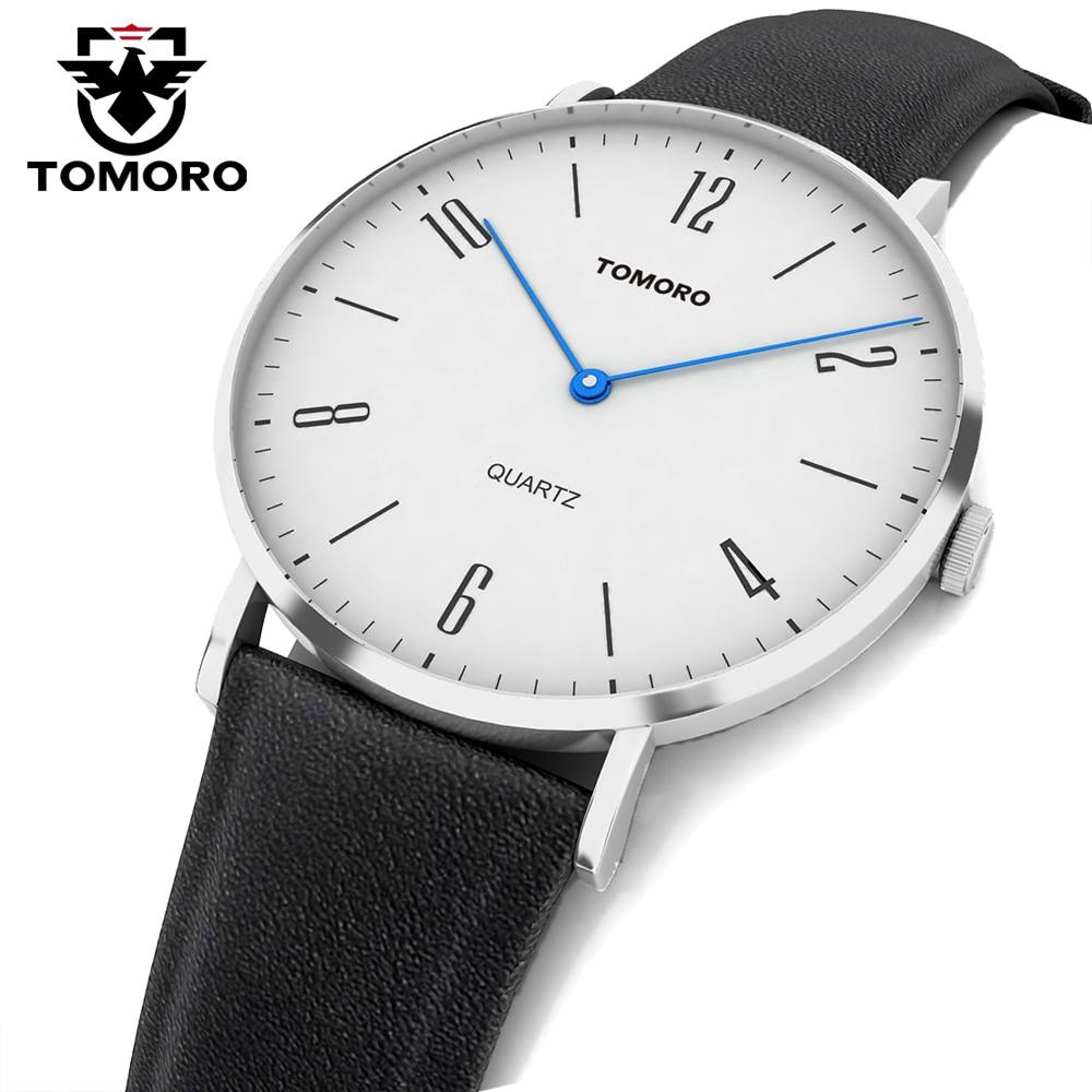 TOMORO Super Slim Quartz Casual Business Genuine Leather Brand Japan Quartz Minimalist Watch Men's Fashion 2017 Relojes Hombre