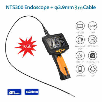 EYOYO NTS300 Dia 3.9mm 3M Snake Inspection Camera 4.3 LCD Monitor 720P Endoscope Borescope DVR Recorder 6 Leds 360 Degree Flip - DISCOUNT ITEM  57 OFF Security & Protection