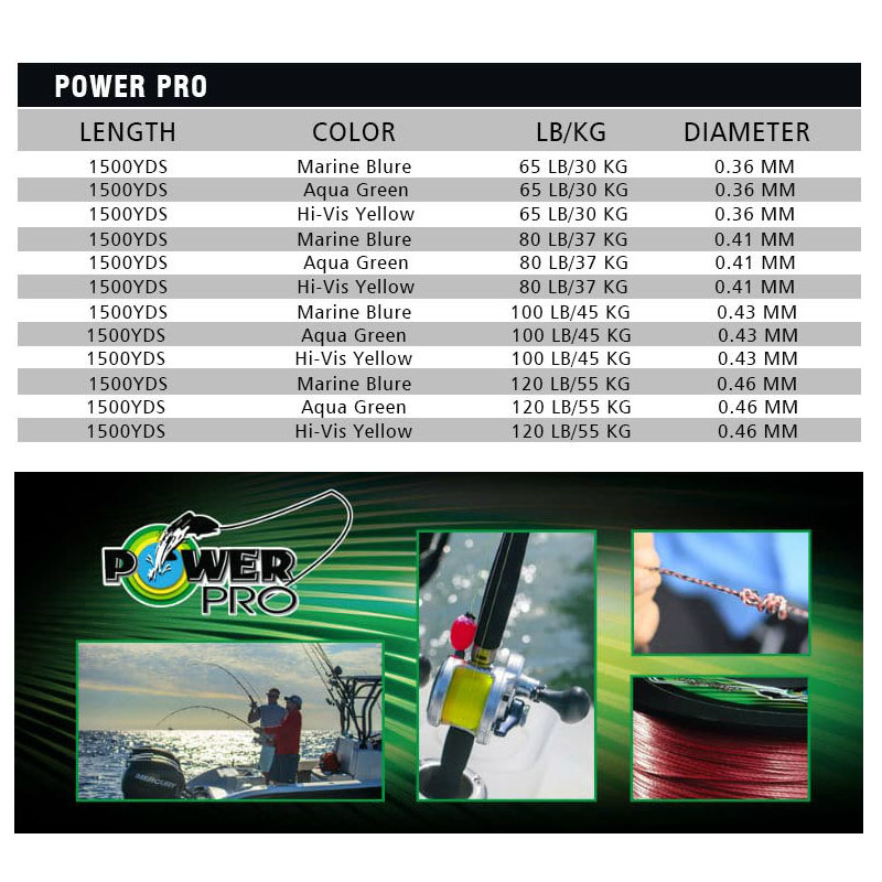 Power Pr0 8 Gevlochten Vislijn Lengte: 1350 m/1500yds, Diameter: 0.36mm 0.46mm, maat: 65 120lb Super VS PE gevlochten lijn - 3