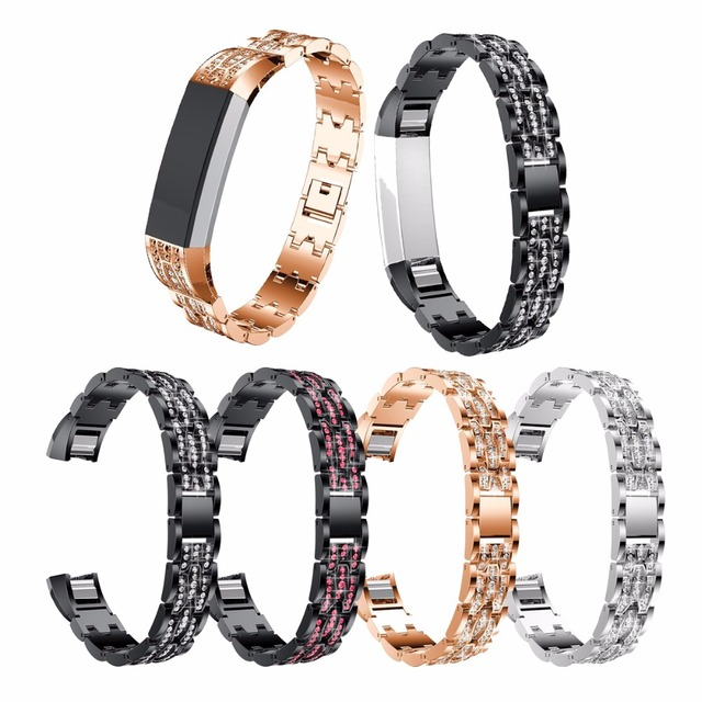 US $12 99 |For Fitbit Alta HR Band, Replacement Metal Rhinestone Bracelet  Adjustable Bands For Fitbit Alta Band Silver Rose Gold Black-in Watchbands