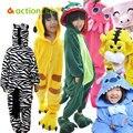 Оптовая продажа зима теплая крытый милые животные дети пижамы панда розовый конь ну вечеринку пижама для мальчика девочка ткань бесплатная доставка KC111
