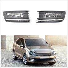 Для VW Polo Sedan автомобильный Стайлинг передний бампер галогенная противотуманная фара и решетка противотуманной фары