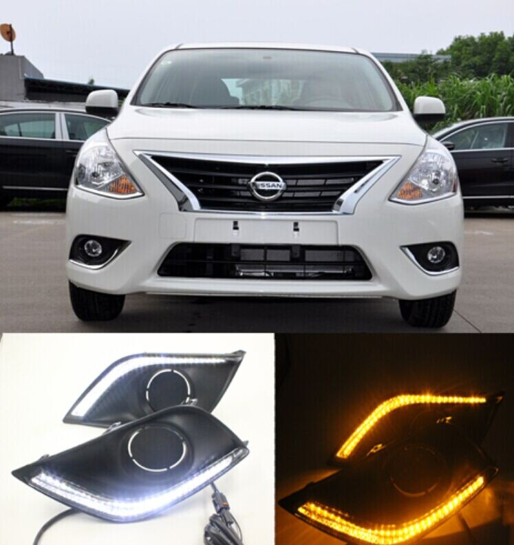 OsMrk led drl daytime running light for nissan versa sunny 2014-15, Accessories, with yellow turn signals, top quality led fog lamp drl daytime running light for nissan sunny versa drl car driving light 2014 2015 new