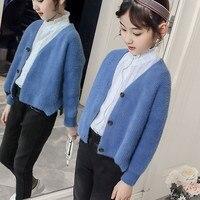 Kids Baby Tops Girls Sweaters Outerwear 2018 Autumn Winter Sweater Korean Cardigans Toddler Girl Knitwear Clothing White Blue
